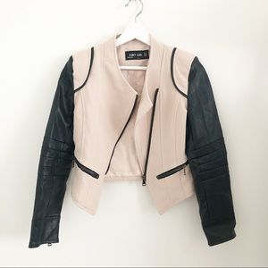 Jackets & Blazers - Pinky Girl jacket leather trim 2 cream black